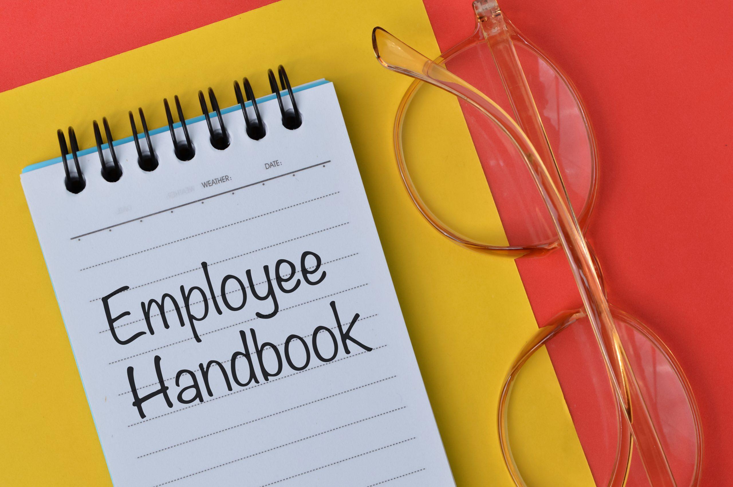 Eyeglasses and employee handbook