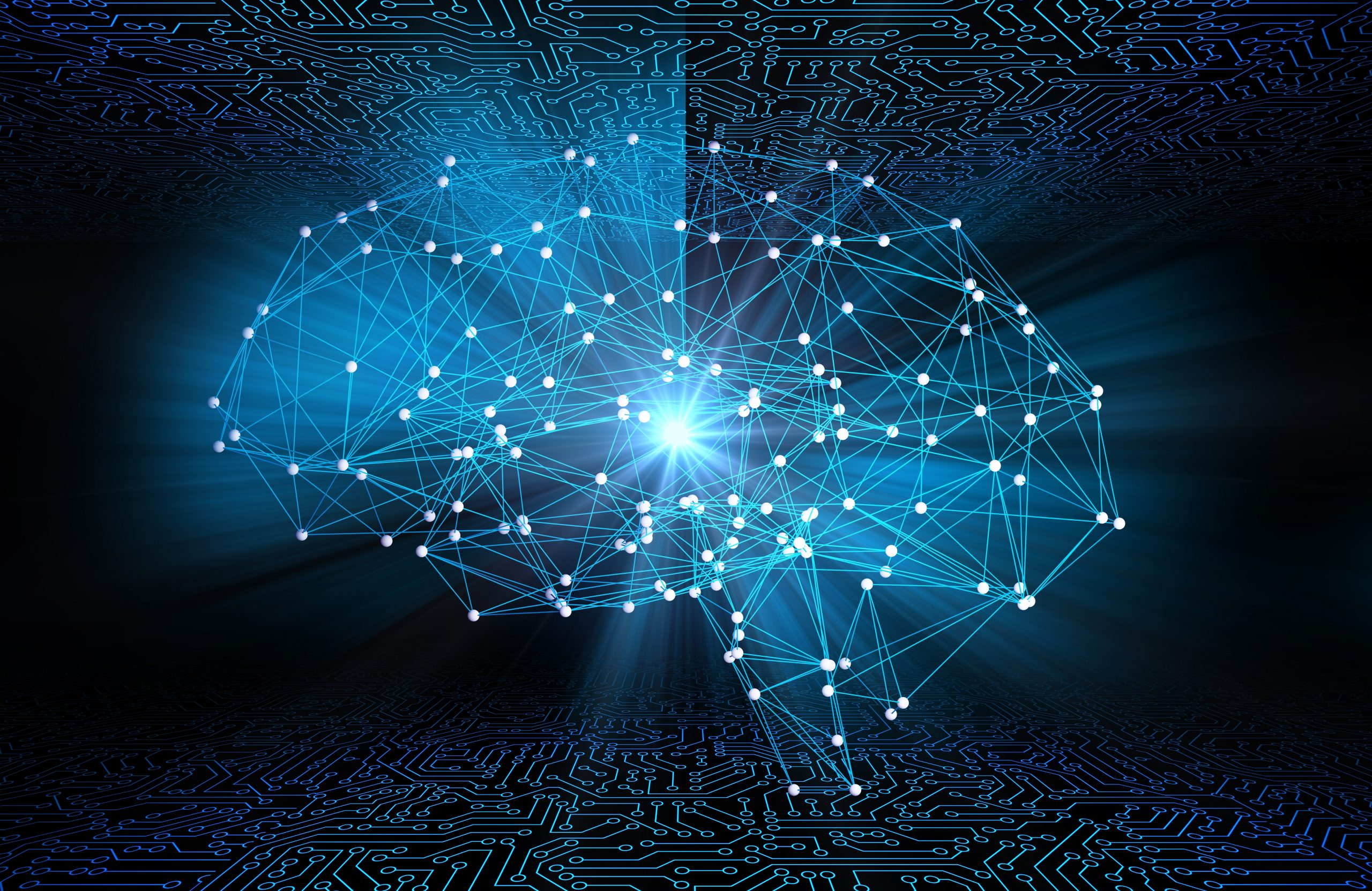 Digital data and network connection of human brain with AI artificial intelligence for technology