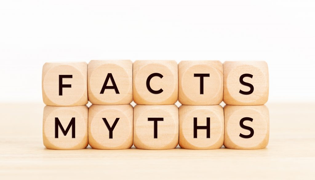 Facts Myths concept. Wooden blocks with text on table
